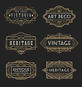 Vintage line frame design for labels and banner