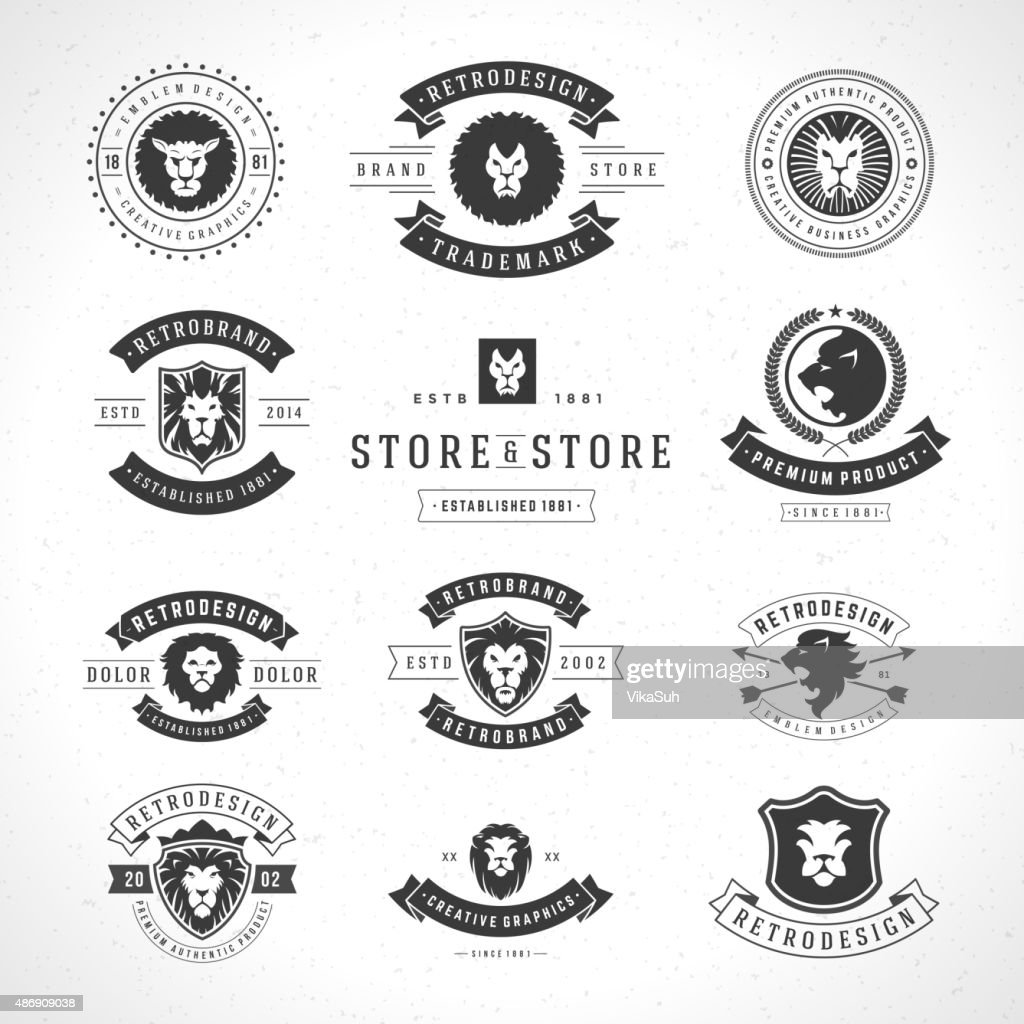 Vintage Lion Logotypes set