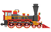 Vintage locomotive vector design illustration isolated on white background