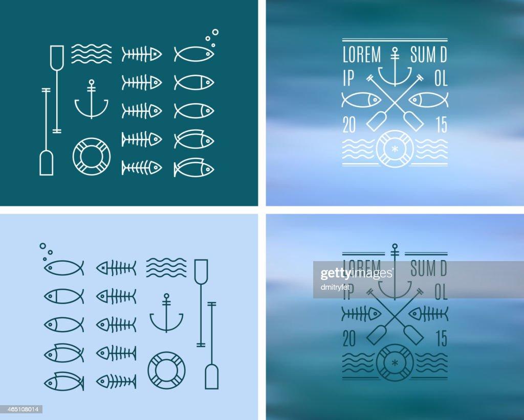 Vintage Logo & Insignia Kit on blurred background