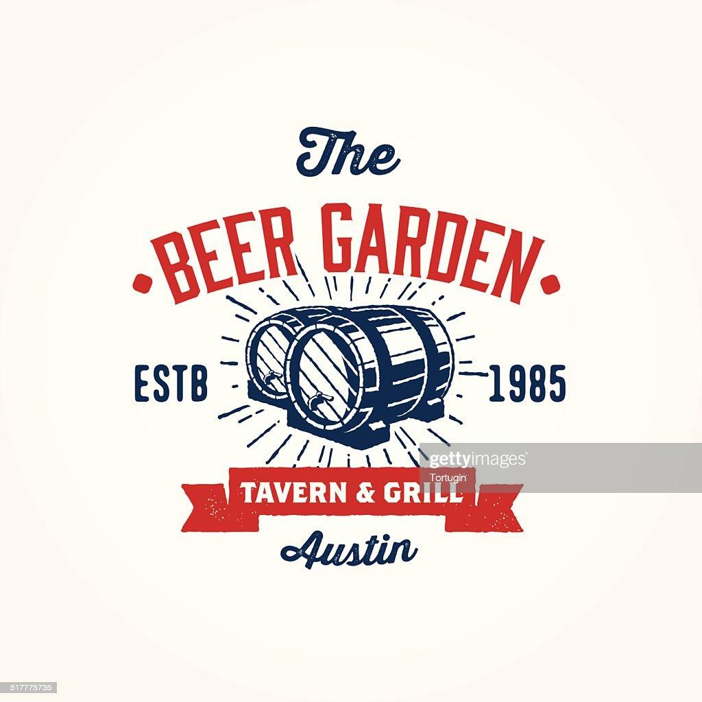 Vintage logo template with wodden barrels