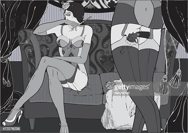 vintage love - seductive women stock illustrations, clip art, cartoons, & icons