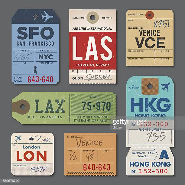 vintage luggage tags - travel tag stock illustrations, clip art, cartoons, & icons