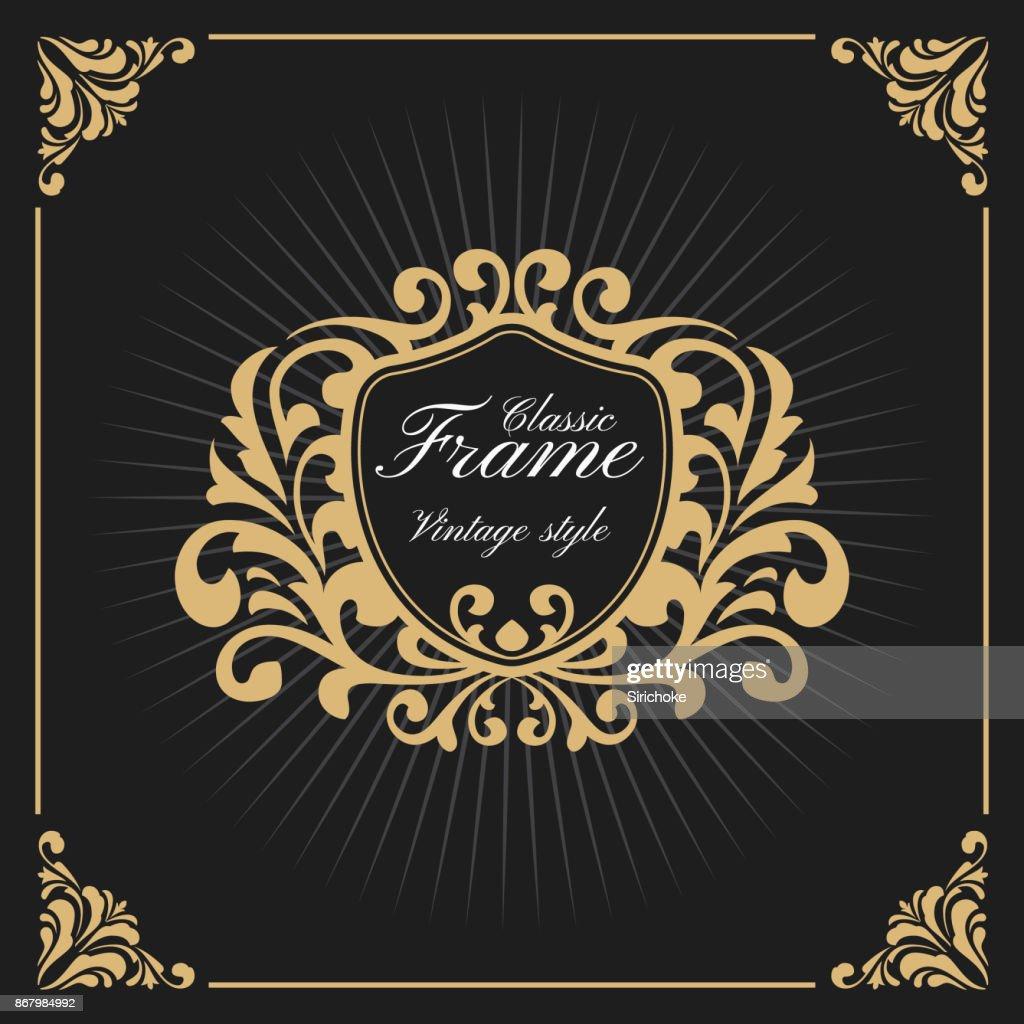 Vintage Luxury Monogram Frame Template