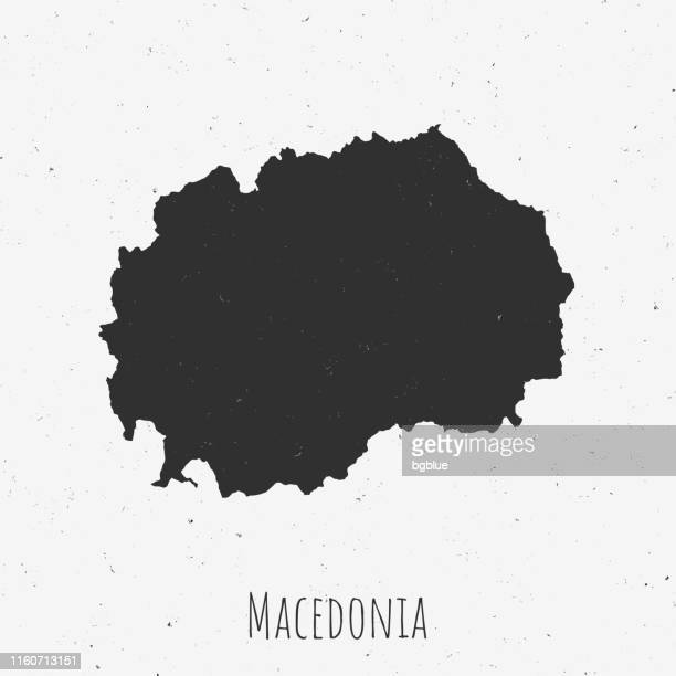 Vintage Macedonia map with retro style, on dusty white background