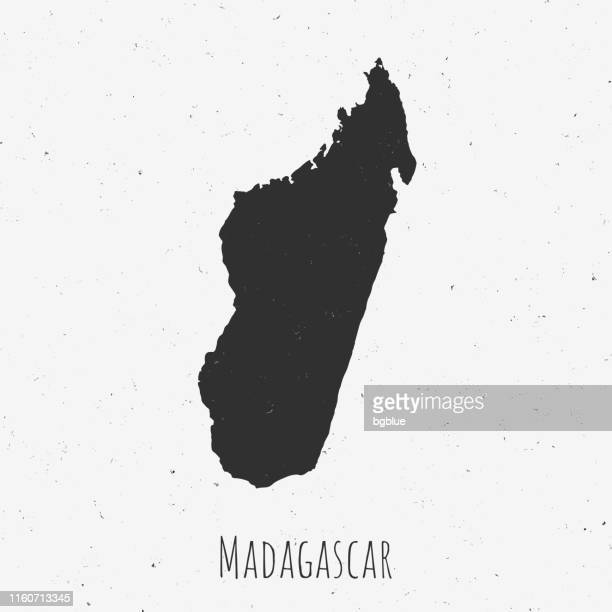 vintage madagascar map with retro style, on dusty white background - antananarivo stock illustrations, clip art, cartoons, & icons