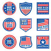 Vintage made in the usa vector badges. American patriotic icons