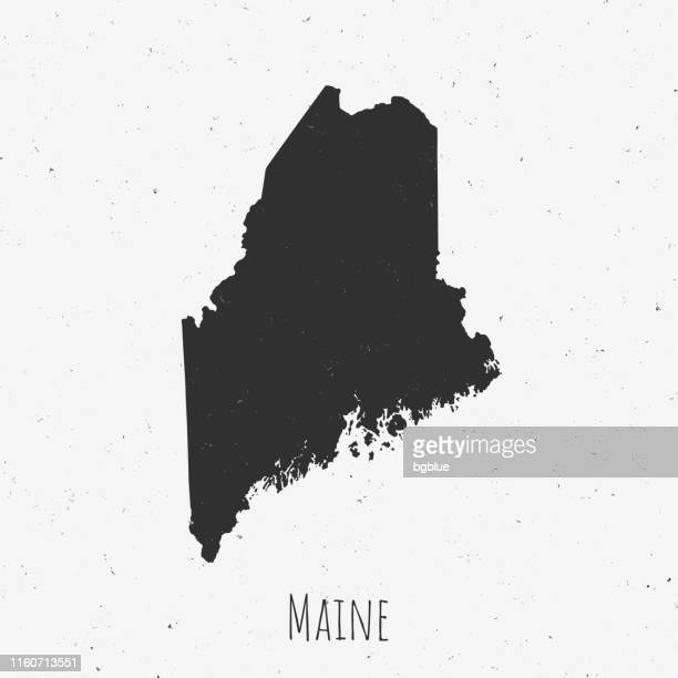 Vintage Maine map with retro style, on dusty white background