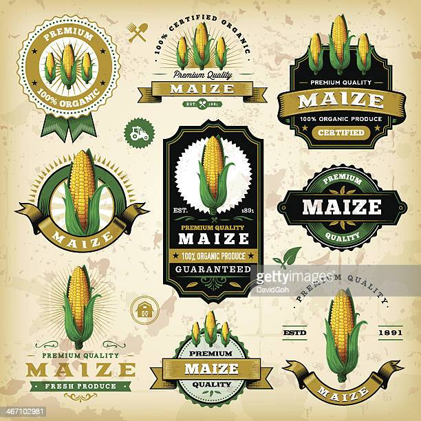 vintage maize labels - corn stock illustrations, clip art, cartoons, & icons