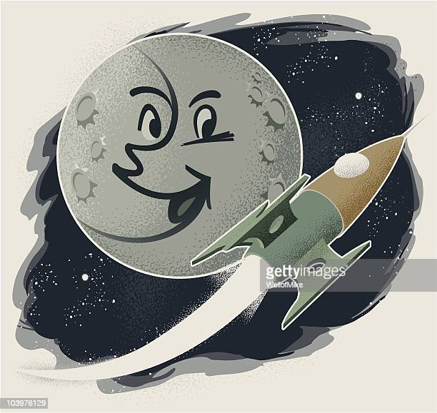 vintage man in the moon with rocket - man in the moon stock illustrations, clip art, cartoons, & icons