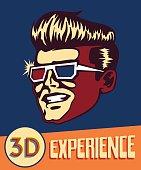 Vintage man wearing retro 3d glasses, 3d movies cinema