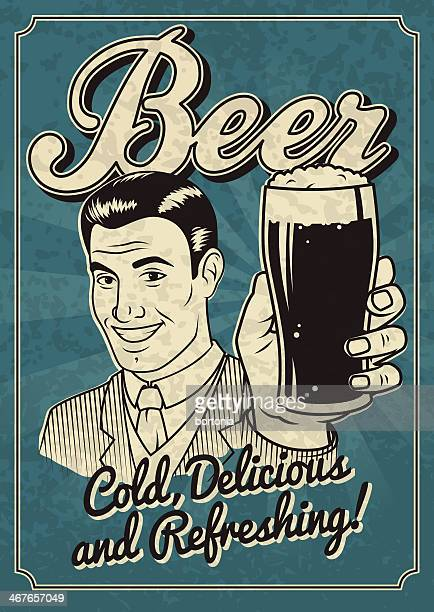 vintage man with beer - beer alcohol stock illustrations, clip art, cartoons, & icons