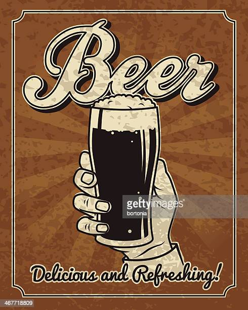 vintage man with beer - beer glass stock illustrations, clip art, cartoons, & icons