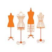 Vintage Mannequin or Dummies Color Set Flat. Vector