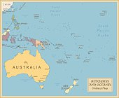 Vintage Map of Australia and Oceania