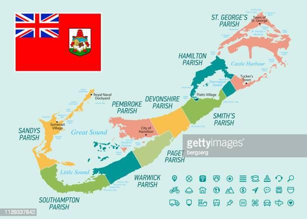 vintage map of bermuda. vector illustration - bermuda stock illustrations