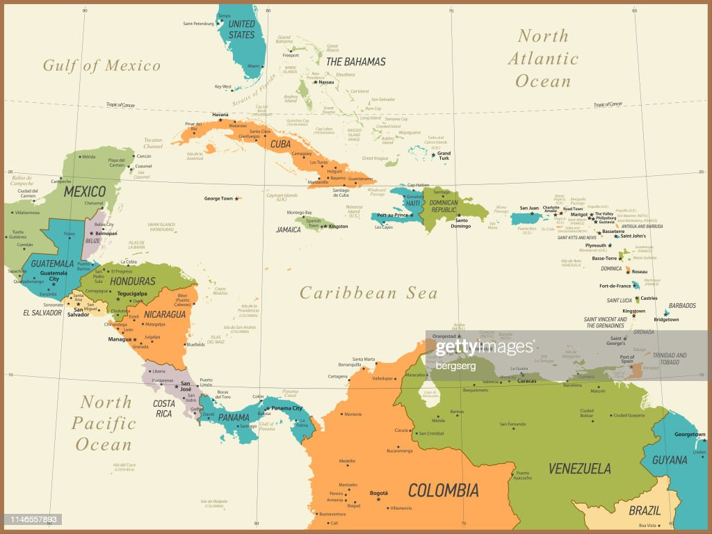 Vintage Map Of Central America And The Caribbean ...