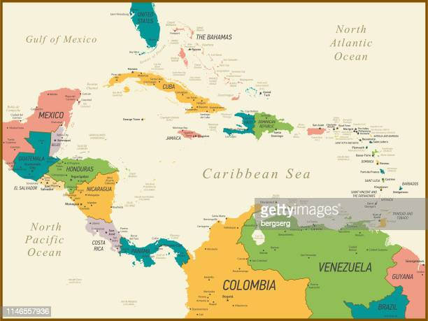vintage map of central america and the caribbean. vector illustration - caribbean stock illustrations