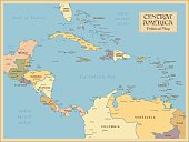 A vintage map of Central America
