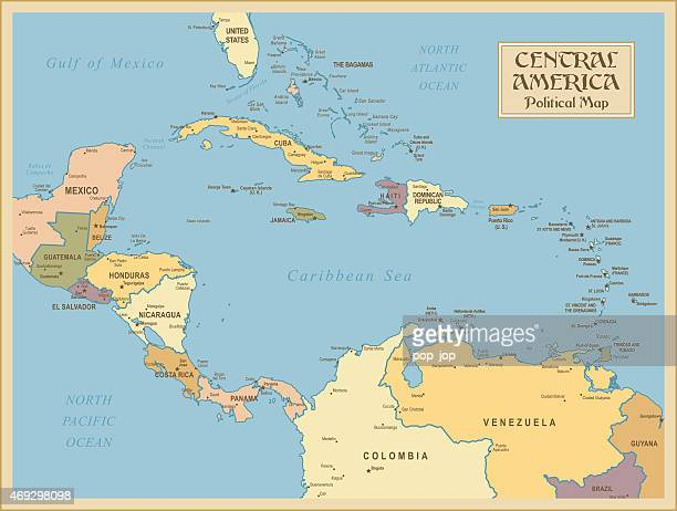 a vintage map of central america - guatemala stock illustrations, clip art, cartoons, & icons