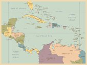 Vintage Map of Central America