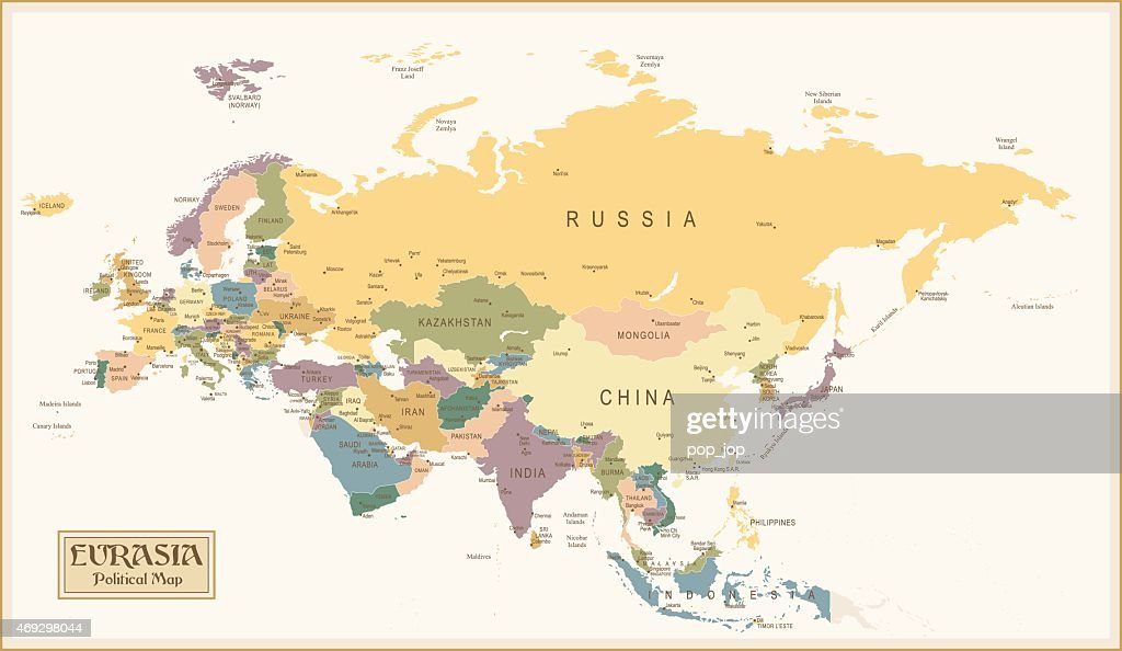 Vintage Map Of Eurasia Before The Continental Split Vector Art