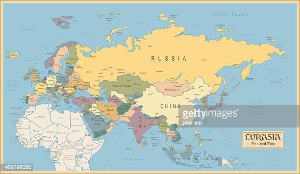 vintage-karte der eurasia - iran stock-grafiken, -clipart, -cartoons und -symbole
