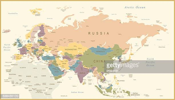 vintage map of eurasia - pacific ocean stock illustrations