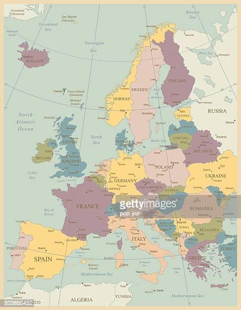 ビンテージヨーロッパの地図 - 北ヨーロッパ点のイラスト素材/クリップアート素材/マンガ素材/アイコン素材