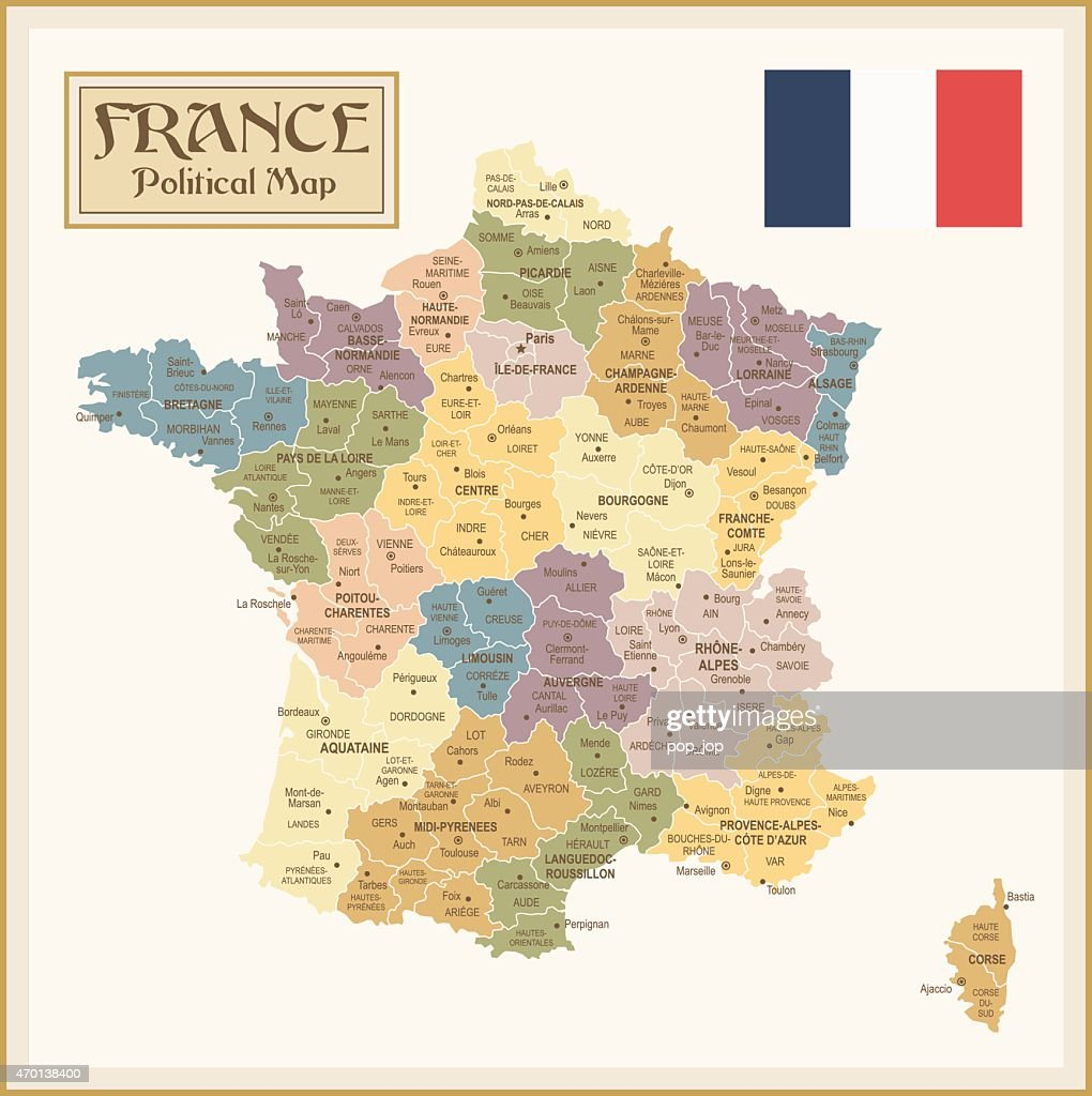 Vintage map of France with different regions