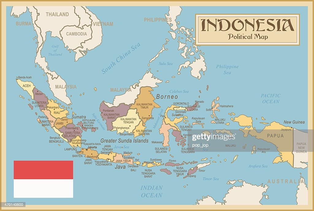 Vintage Map of Indonesia