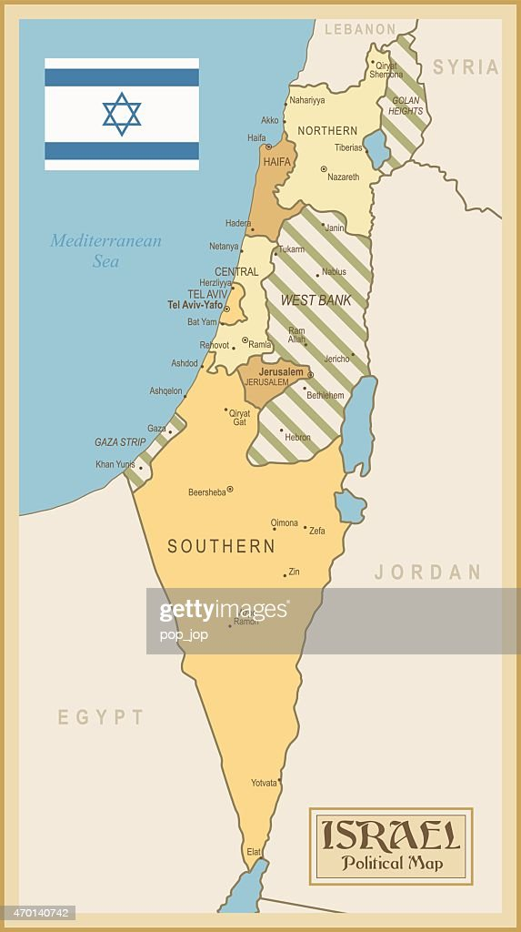 Vintage Map Of Israel Vector Art Getty Images