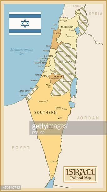 vintage map of israel - israel stock illustrations