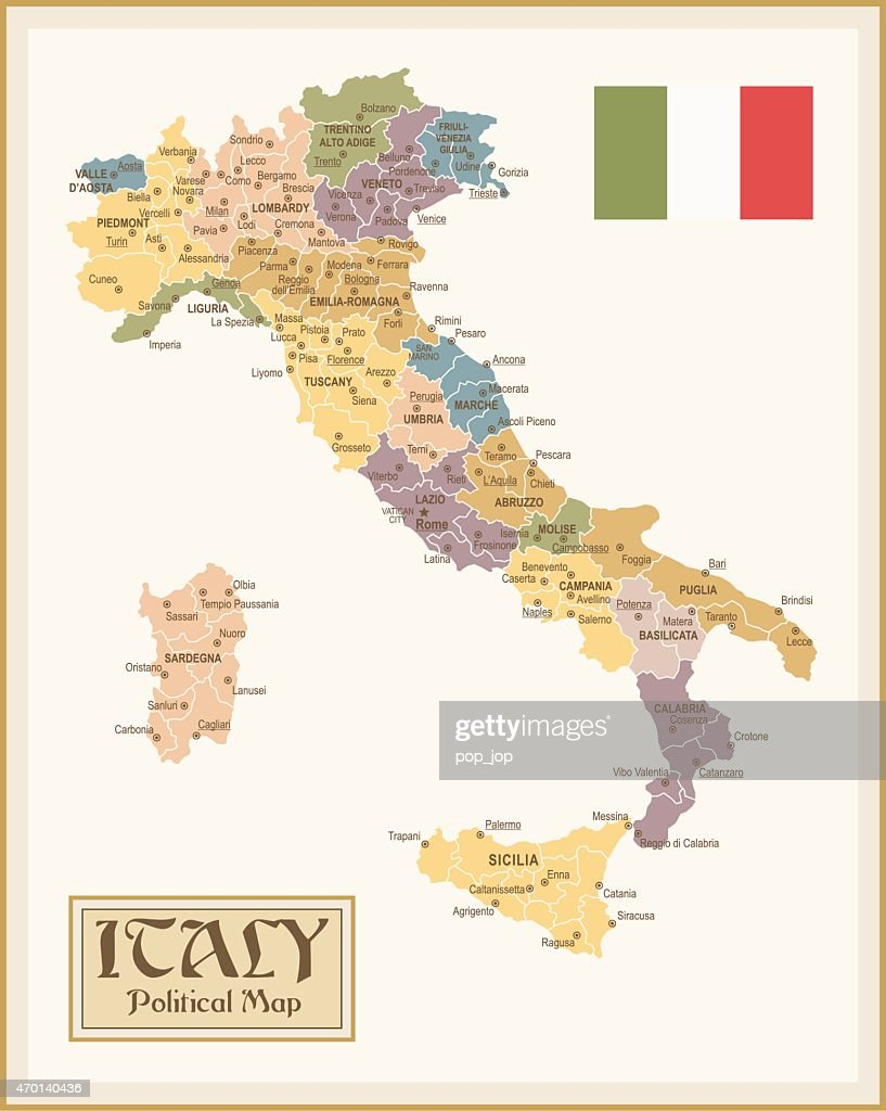 Vintage Map Of Italy Vector Art Getty Images