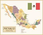 Vintage Map of Mexico