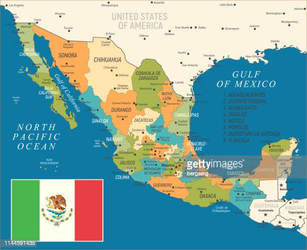 vintage map of mexico. vector illustration - quintana roo stock illustrations