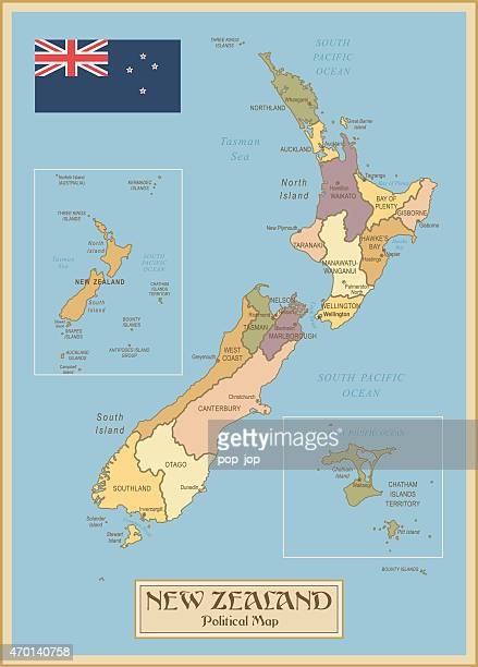 Vintage Map of New Zealand
