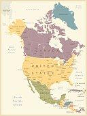 Vintage Map of North America