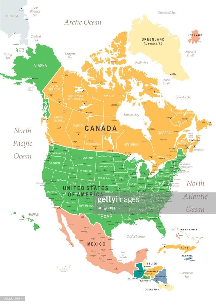 Vintage Karte von Nordamerika : Stock-Illustration