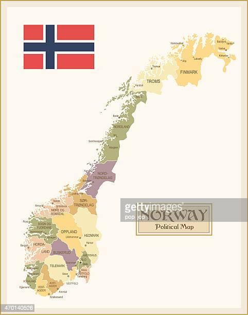 vintage karte von norwegen - norwegen stock-grafiken, -clipart, -cartoons und -symbole