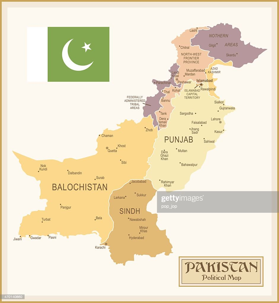 Vintage Map Of Pakistan stock illustration - Getty Images