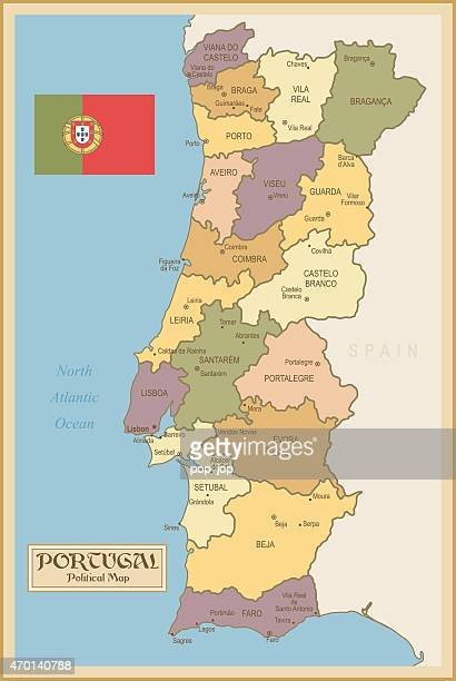 Vintage Map of Portugal