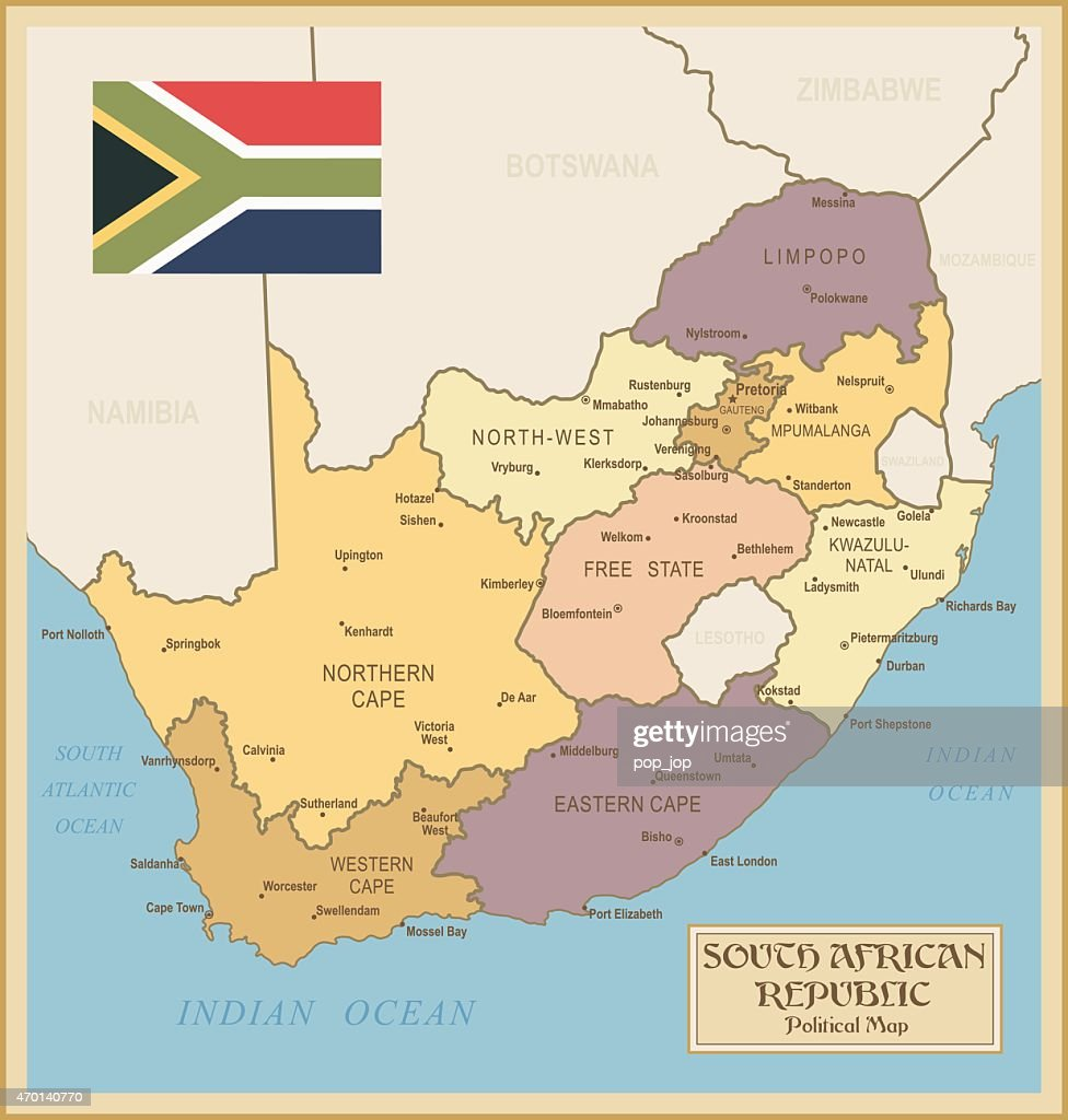 Vintage Map of South Africa : stock illustration
