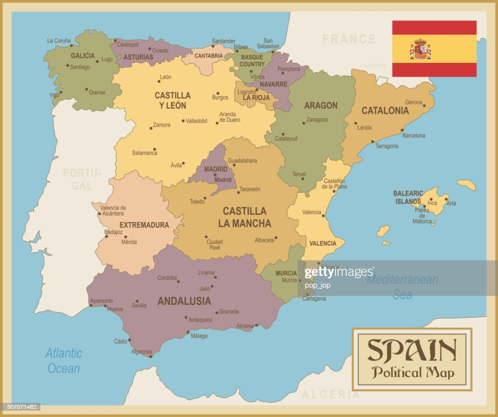 Vintage map of Spain - illustration : stock illustration