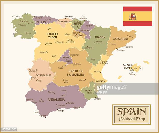 vintage map of spain - illustration - oviedo stock illustrations, clip art, cartoons, & icons