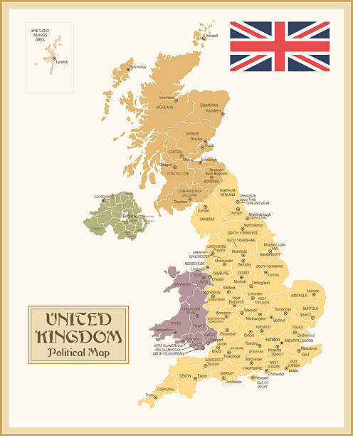 Vintage Map Of United Kingdom Wall Art