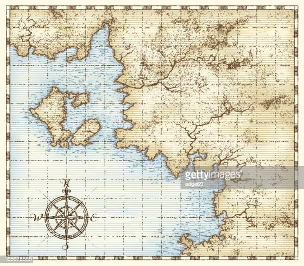 desenhos animados e ilustrações de stock de carta marítima getty