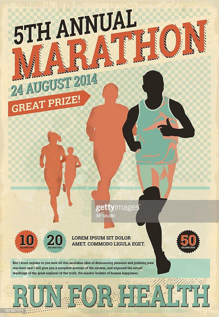 Vintage maratón corredores : Ilustración de stock