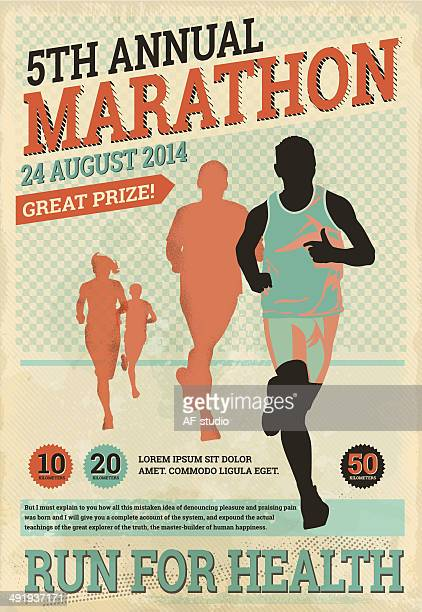 vintage marathon runners - track and field stock illustrations, clip art, cartoons, & icons