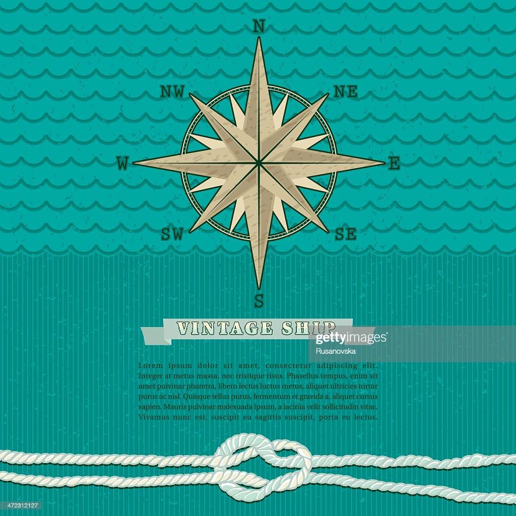 Vintage Marine Compass Background